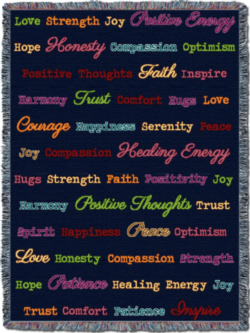 """Word Hugs"" Dark Back Ground Tapestry Throw"